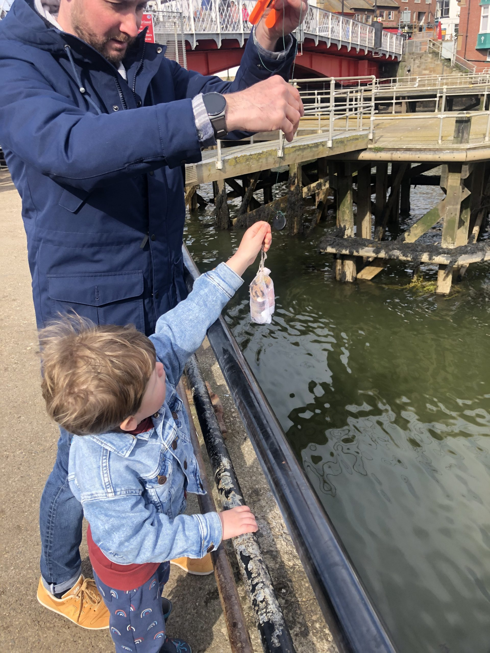 Crabbing in Whitby Harbour with lines