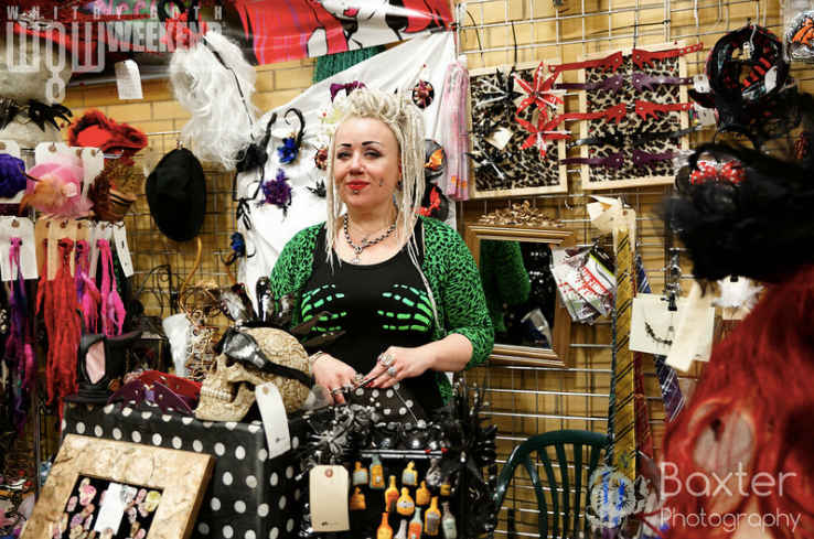 a stall holder at bizarre bazaar at whitby goth weekend