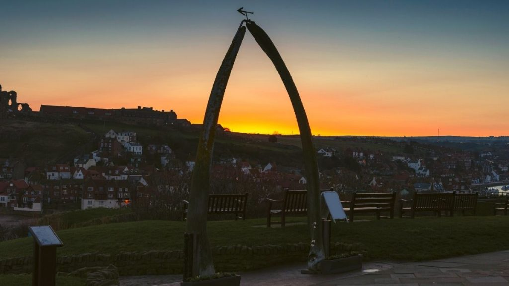 Whitby Whale Bone Arch at Sunset
