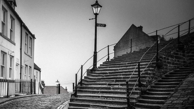 199 Steps Whitby Black and White