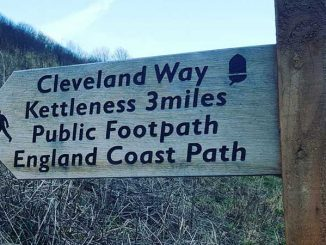 The Cleveland Way signpost in Sandsend, Whitby