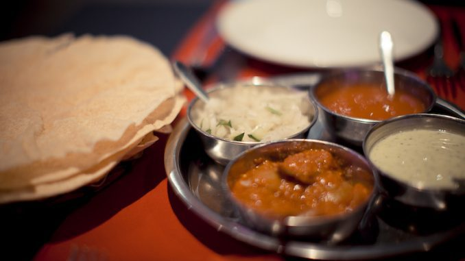 Poppadom and chutney at Passage to India Whitby