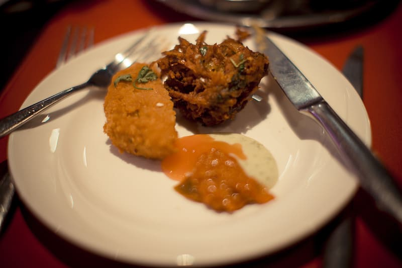 Onion bhajee, aloo bora and chutney at Passage to India Whitby