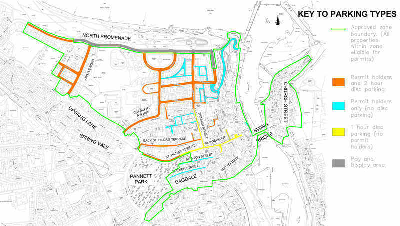 Scarborough Borough Council Map of Parking in Whitby