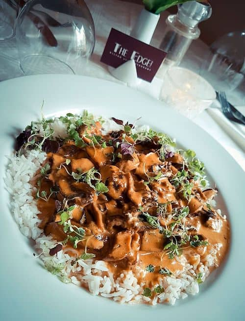 The Edge Restaurant in Whitby; Mushroom Stroganoff with Basmati Rice