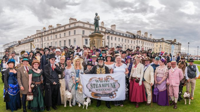 Whitby Steampunk Weekend Group Photograph; WSW-credit Keith Johnson Images