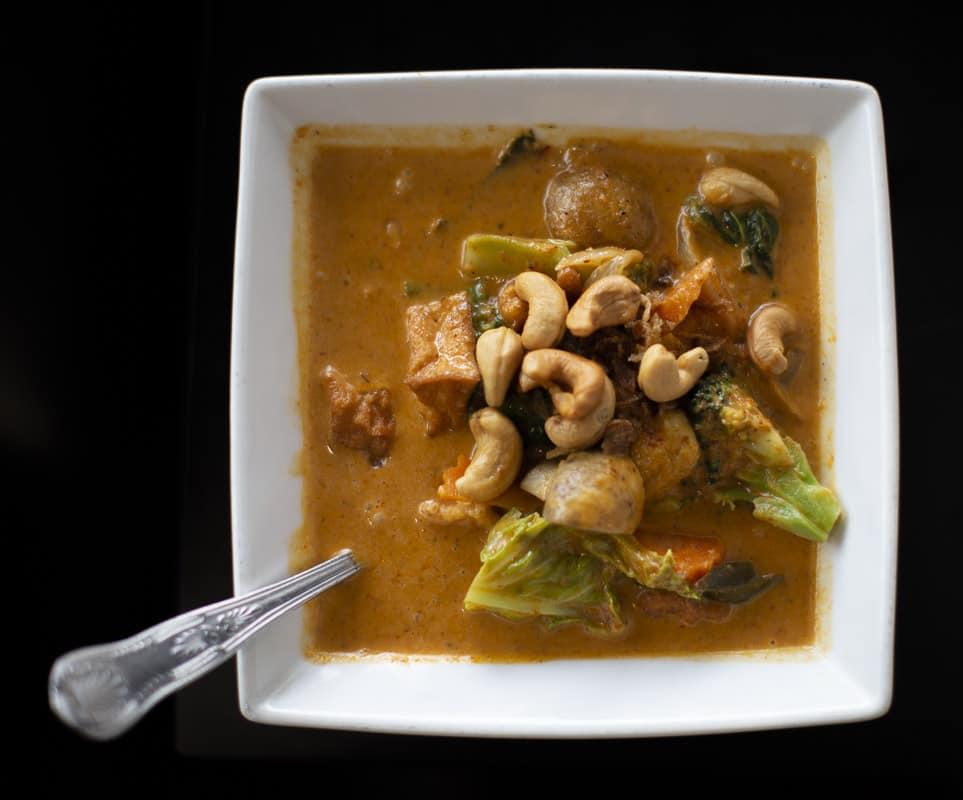 Potatoes, Cashew Nuts and Vegetables; Tofu Massaman at Kam Thai