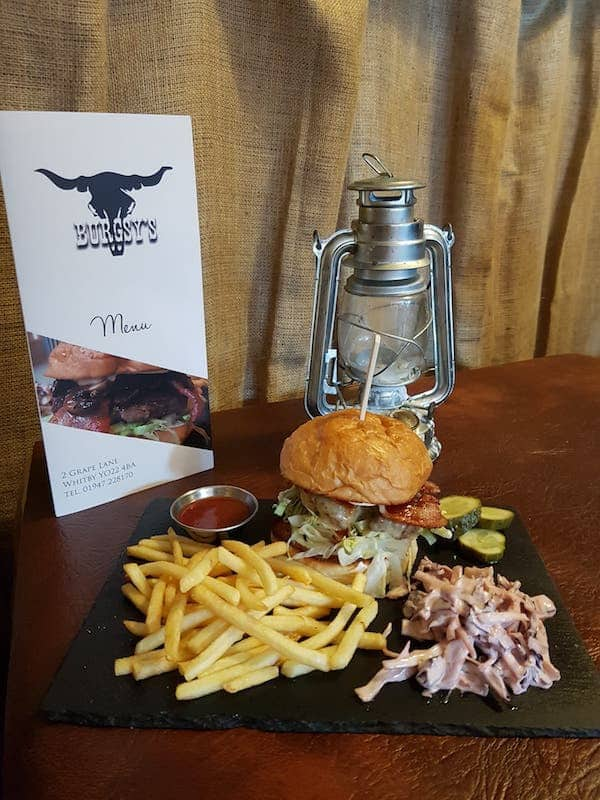 Delicious Burgers with fries and slaw at Burgsy's Burger House; Burgsy's Review Whitby