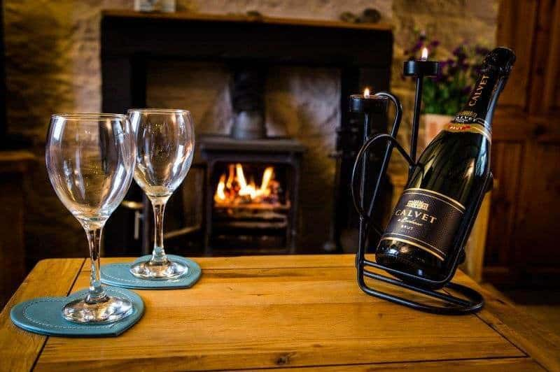 Apple Cottage; cosy couple time with a nice glass of this