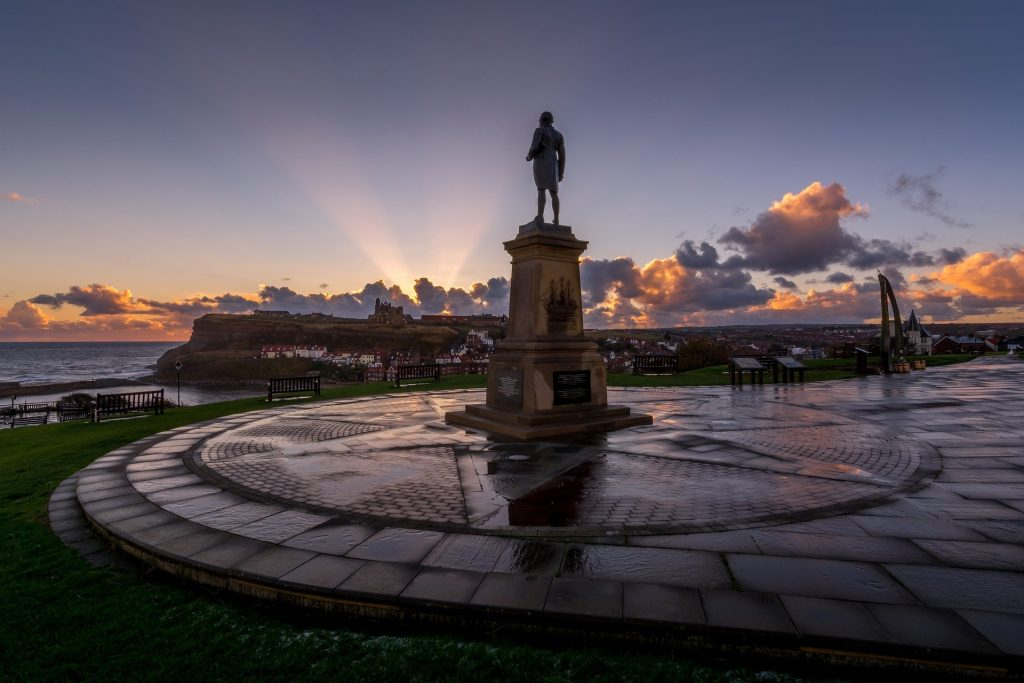 Captain Cook statue on Whitby's West Cliff