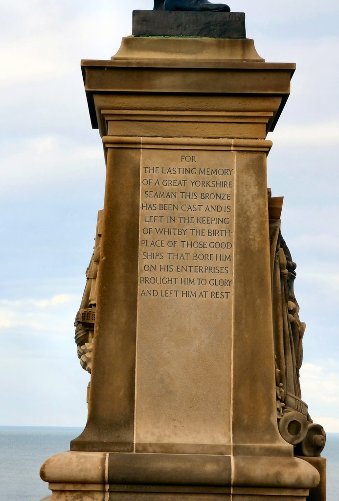 Inscription on the Captain Cook monument in Whitby
