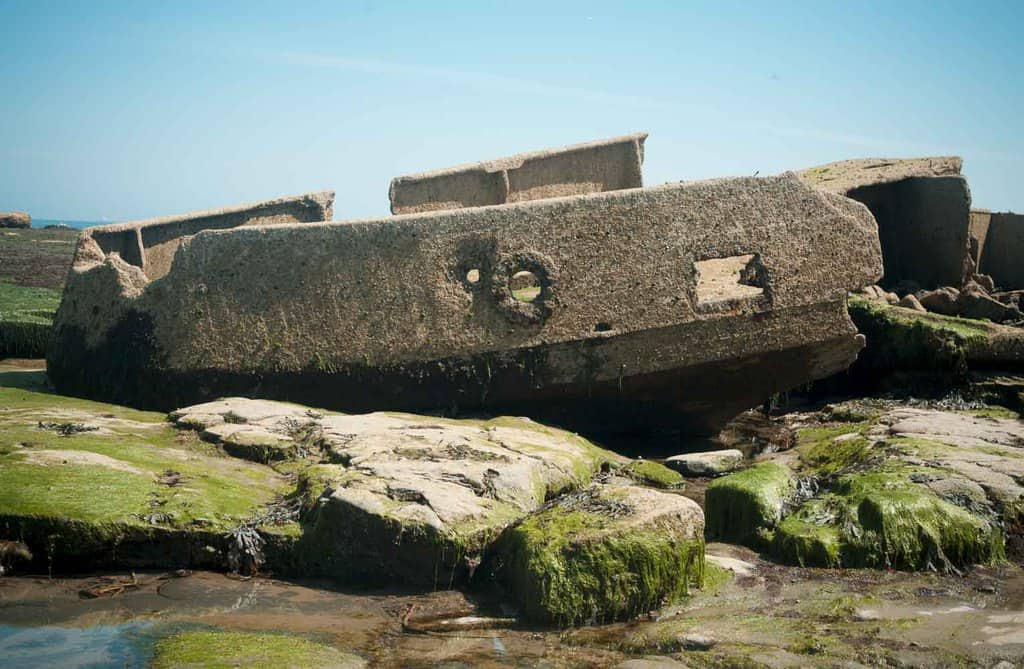The recognisable remains of the Creteblock shipwreck in Whitby