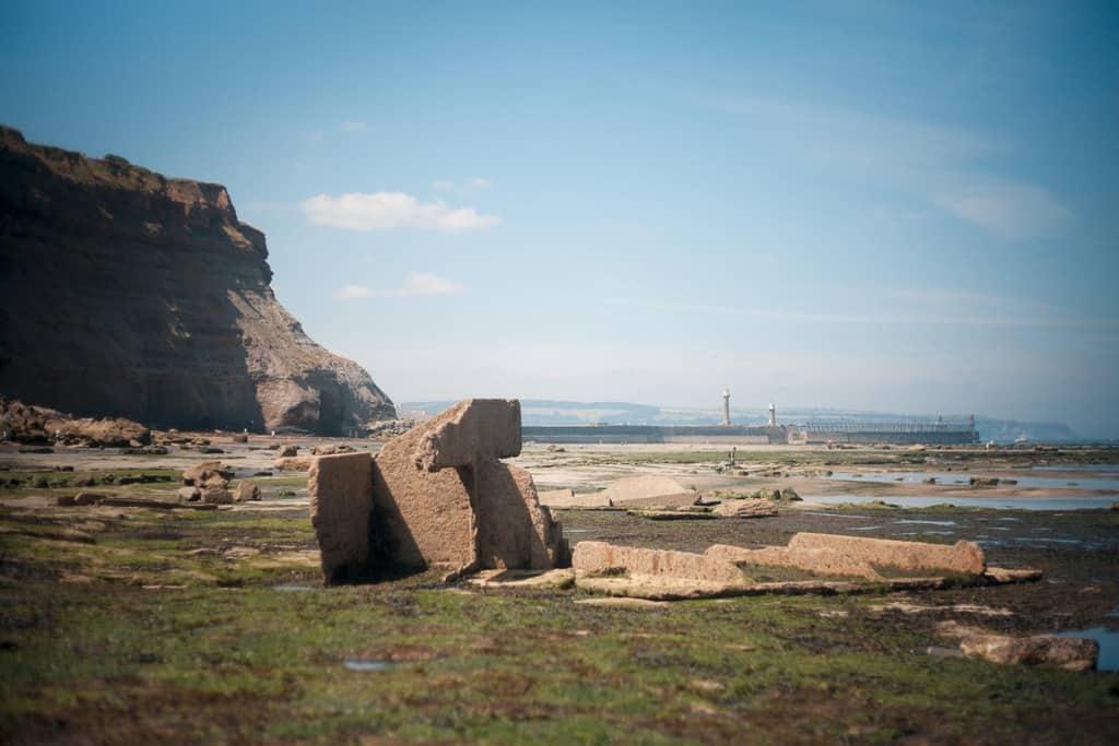MV Creteblock in Whitby shipwreck viewed towards Tate Hill beach