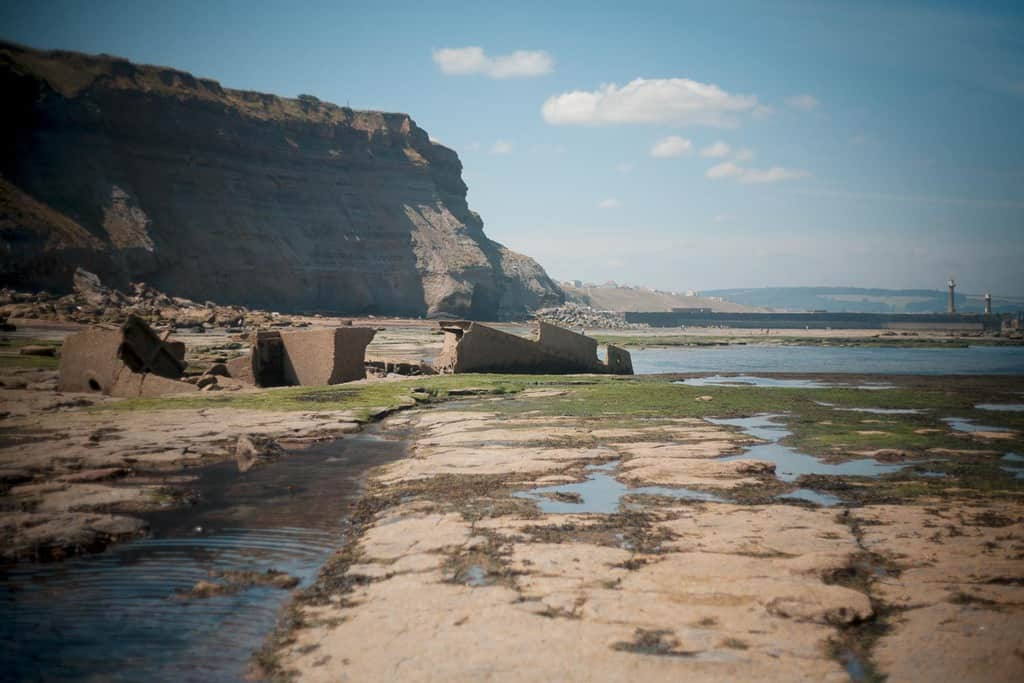 Looking back towards Tate Hill beach from the Whitby shipwreck