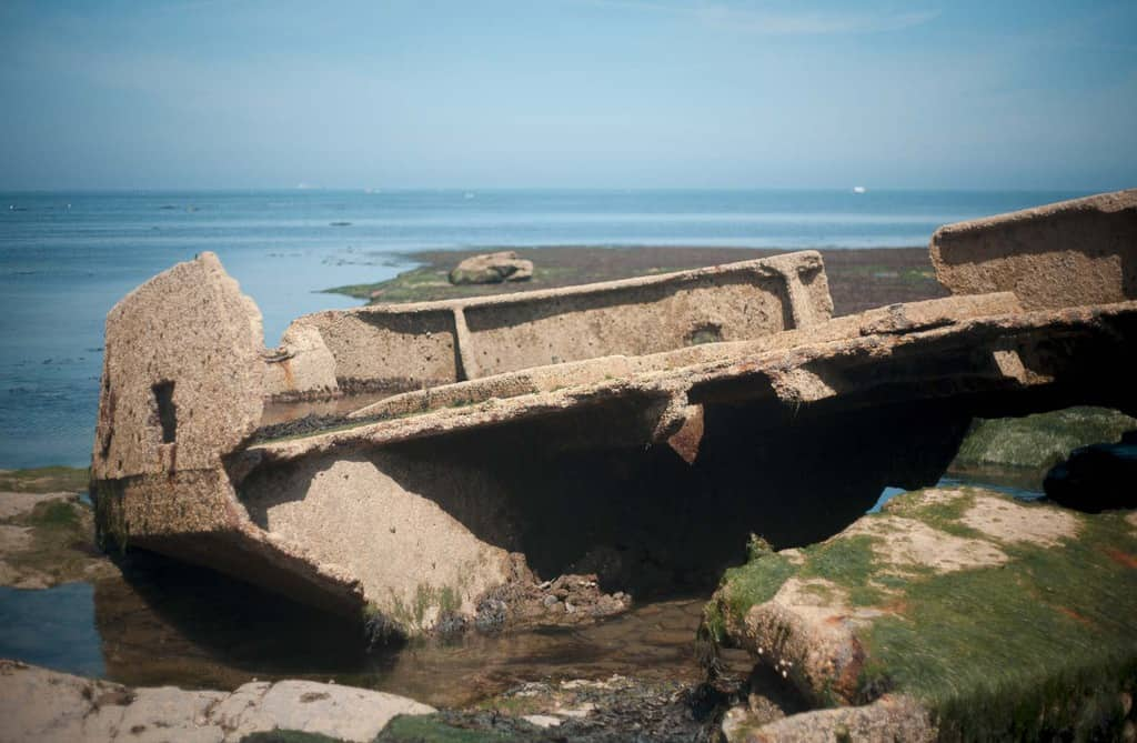 At low tide the MV Creteblock shipwreck is revealed across Whitby Scar