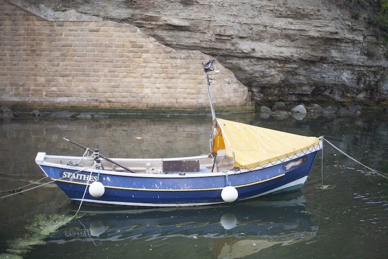 A traditional fishing coble at Staithes Festival
