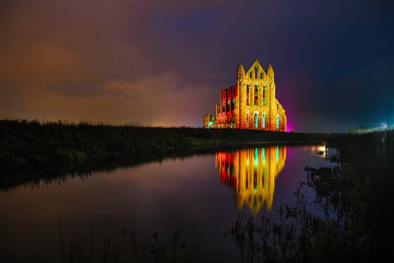 Illuminated Abbey; The iconic Whitby Abbey bathed in colour makes a majestic spectacle for Halloween
