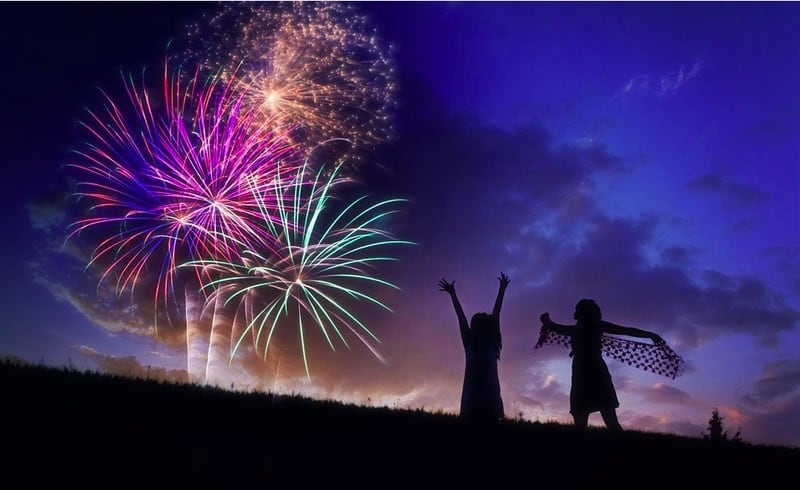 Bonfire night in Whitby; Fireworks and children playing