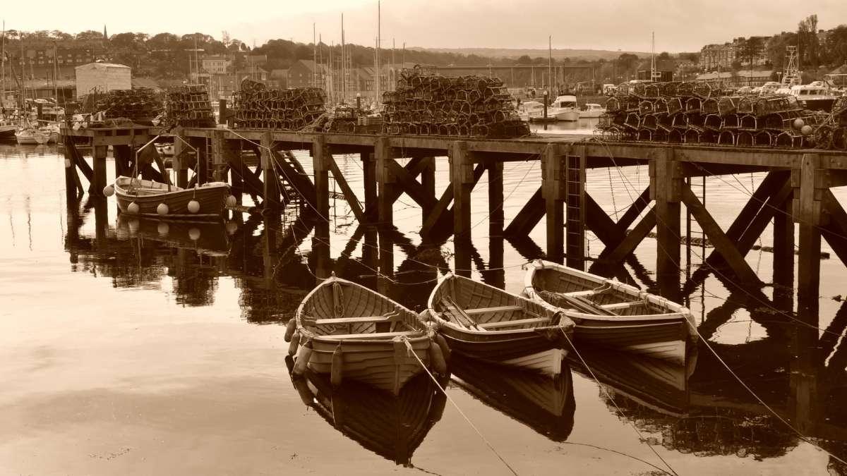 Whitby Harbor Sepia
