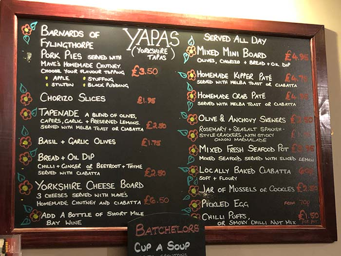 Menu Board - The Black Horse Inn