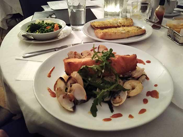 Salmon Fillet with clams