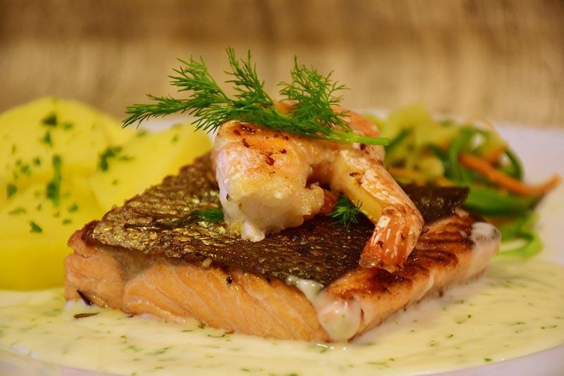 Salmon & Prawn Fish Dish