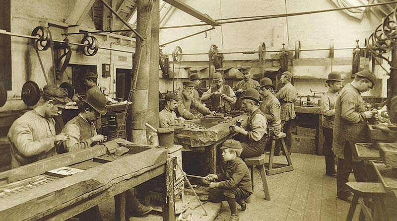 A Whitby Jet jewellery workshop in Whitby.