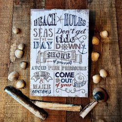 Rustic Beach Rules Wall Plaque