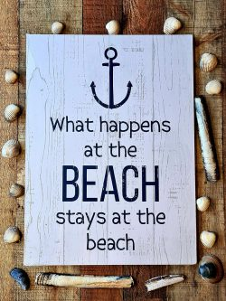 What Happens At The Beach Wall Plaque
