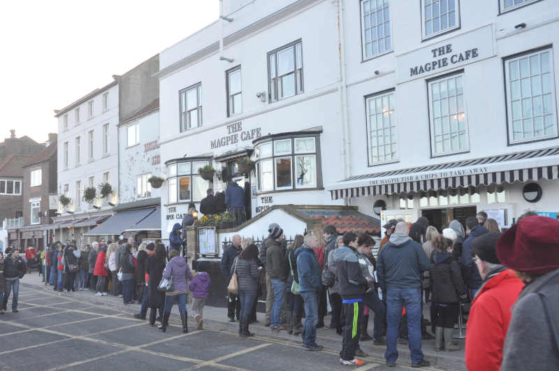 The legendary queue outside The Magpie Cafe on Pier Road