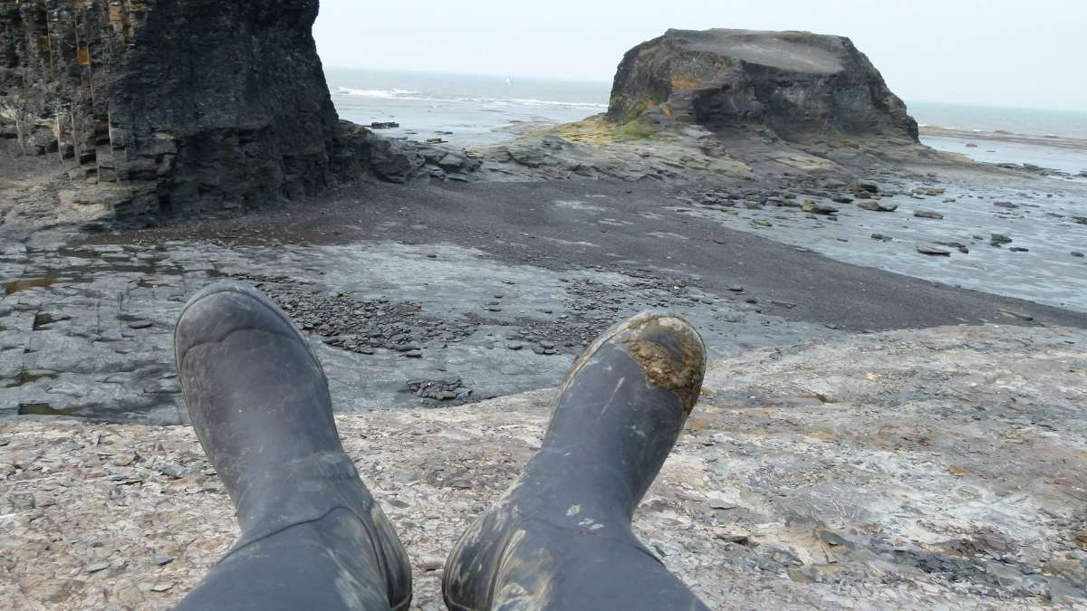 Wellies Fossil Hunting