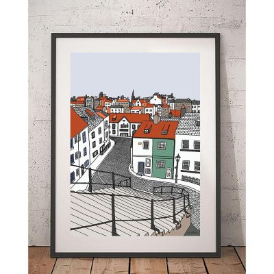 199 Steps, Whitby, Hand Illustrated Print