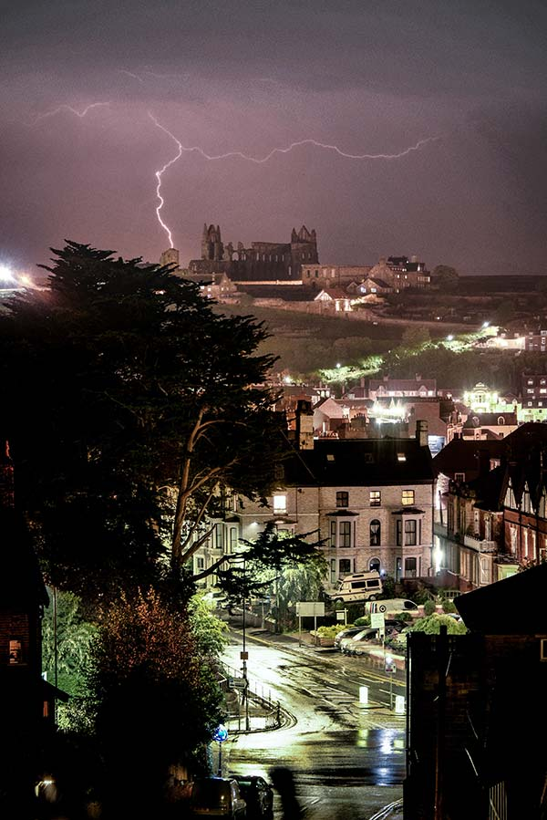 Whitby Abbey Lightening