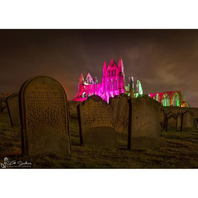 Dracula's Grave Yard And Illuminated Whitby Abbey Canvas