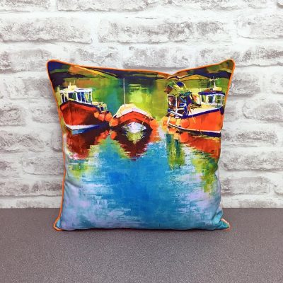 Bobbing in the Harbour Cushion By Whitby Artist Kate Smith