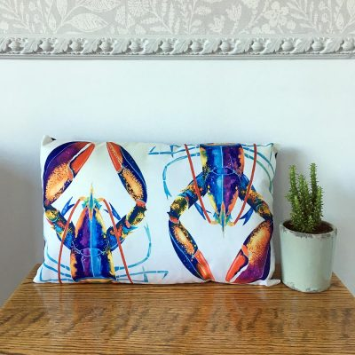 'Lobster' Cushion By Whitby Artist Kate Smith