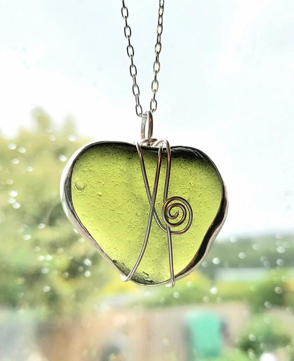 Large green Whitby sea glass pendant
