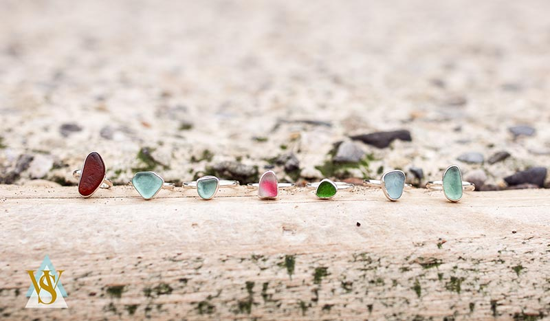 Rings made from Whitby sea glass
