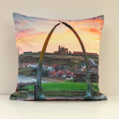 Whitby Sunset & Sunrise Velvet Double Sided Cushion