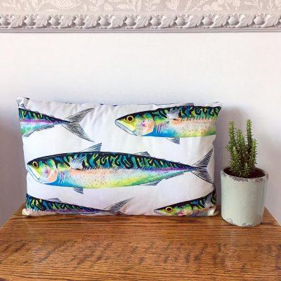 'Mackerel' Cushion By Whitby Artist Kate Smith