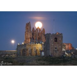 Moon Over Whitby Abbey Canvas