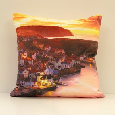 Staithes Sunrise & Sunset Velvet Double Sided Cushion