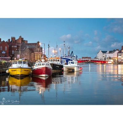 Whitby Harbour At Night Canvas