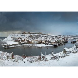 Whitby In The Snow Canvas