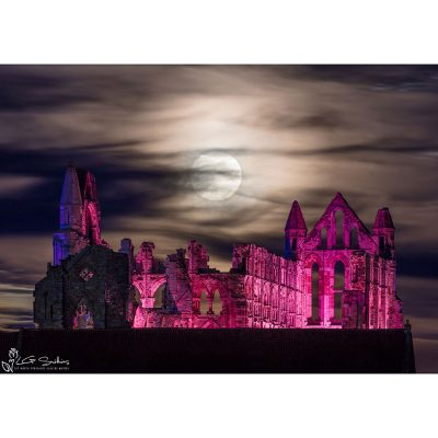 Moon Over Illuminated Whitby Abbey Canvas