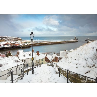 Whitby Steps In The Snow Canvas
