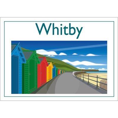 Whitby Beach Huts, Contemporary Digital Art Print