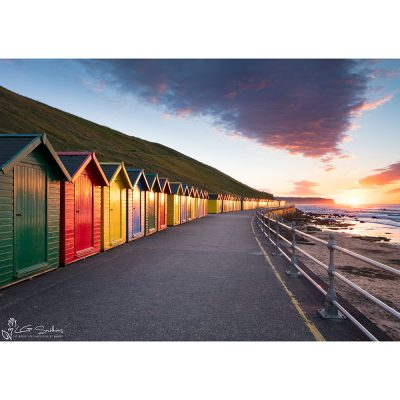 Whitby Beach Huts At Sunset