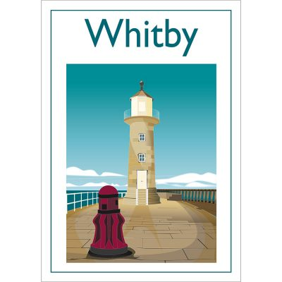 Whitby Lighthouse, Contemporary Digital Art Print