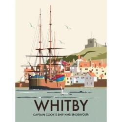 Captain Cook's HMS Endeavour, Whitby, Digital Art Print, Dave Thompson